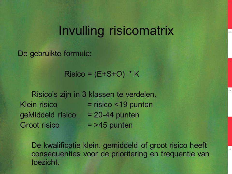 Invulling risicomatrix De gebruikte formule: Risico = (E+S+O) * K Risico's zijn in 3 klassen te verdelen. Klein risico= risico <19 punten geMiddeld ri