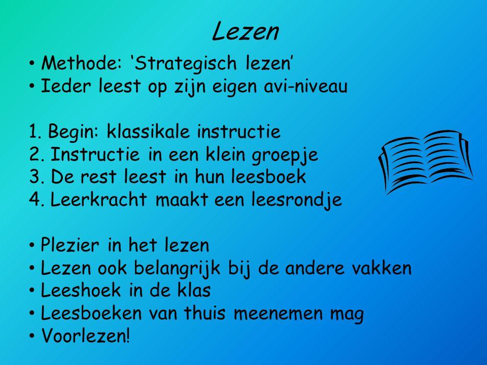 Lezen Methode: 'Strategisch lezen' Ieder leest op zijn eigen avi-niveau 1. Begin: klassikale instructie 2. Instructie in een klein groepje 3. De rest