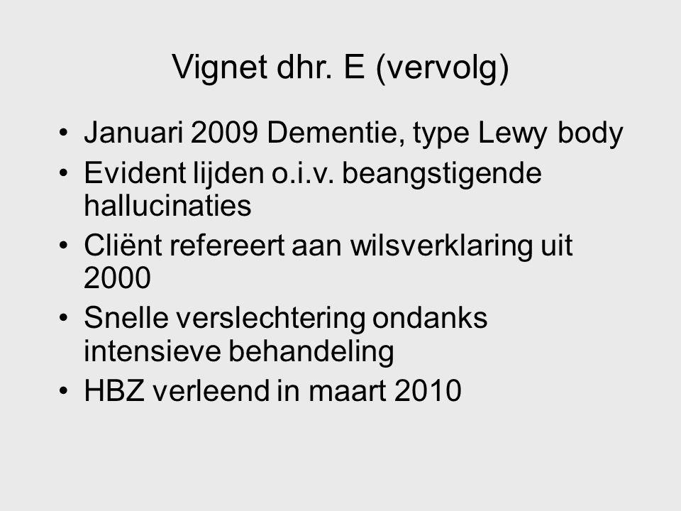 Vignet dhr. E (vervolg) Januari 2009 Dementie, type Lewy body Evident lijden o.i.v. beangstigende hallucinaties Cliënt refereert aan wilsverklaring ui