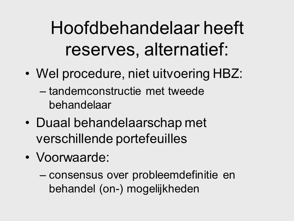 Hoofdbehandelaar heeft reserves, alternatief: Wel procedure, niet uitvoering HBZ: –tandemconstructie met tweede behandelaar Duaal behandelaarschap met