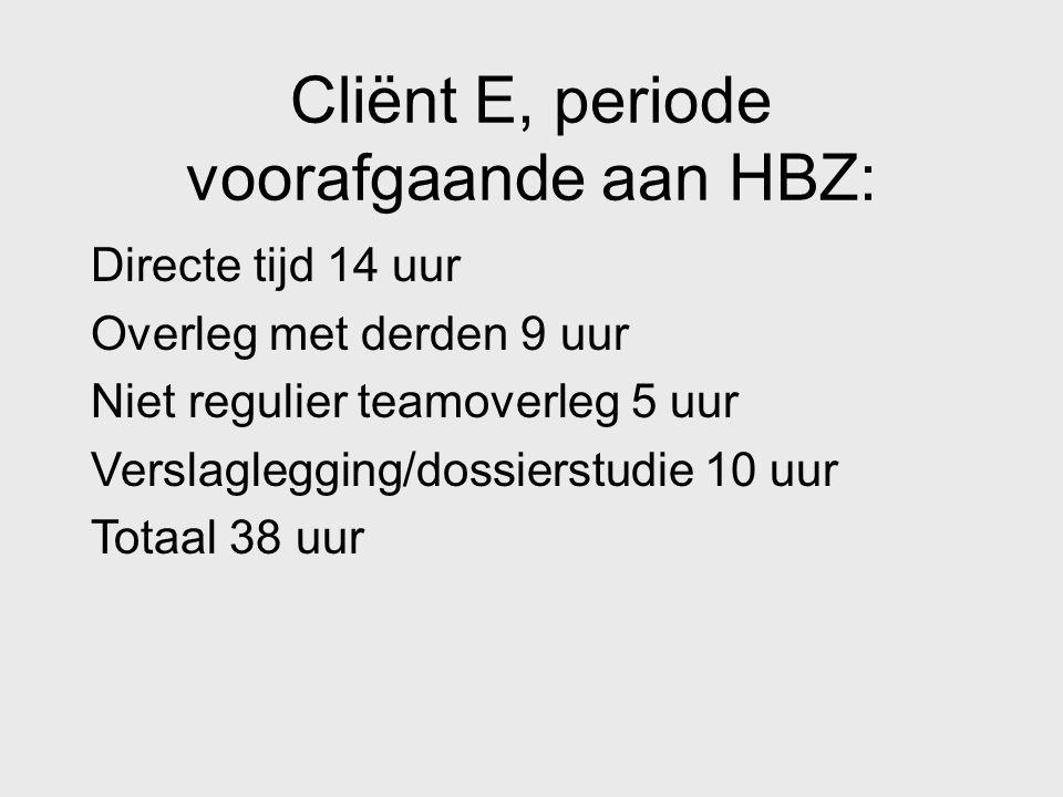 Cliënt E, periode voorafgaande aan HBZ: Directe tijd 14 uur Overleg met derden 9 uur Niet regulier teamoverleg 5 uur Verslaglegging/dossierstudie 10 u