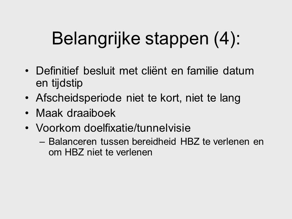Belangrijke stappen (4): Definitief besluit met cliënt en familie datum en tijdstip Afscheidsperiode niet te kort, niet te lang Maak draaiboek Voorkom