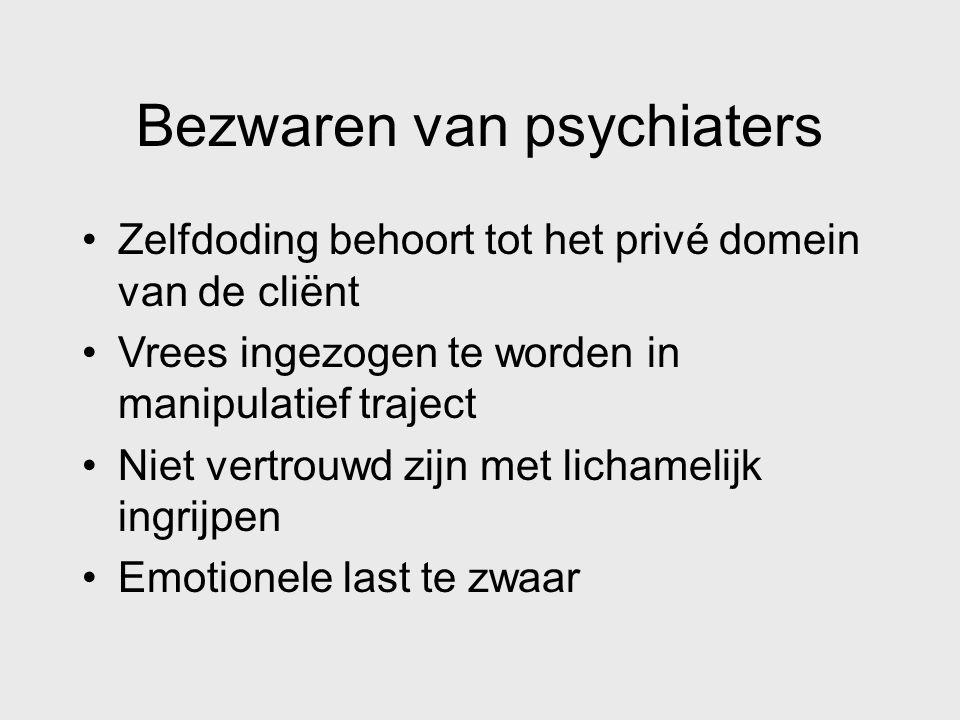 Bezwaren van psychiaters Zelfdoding behoort tot het privé domein van de cliënt Vrees ingezogen te worden in manipulatief traject Niet vertrouwd zijn m