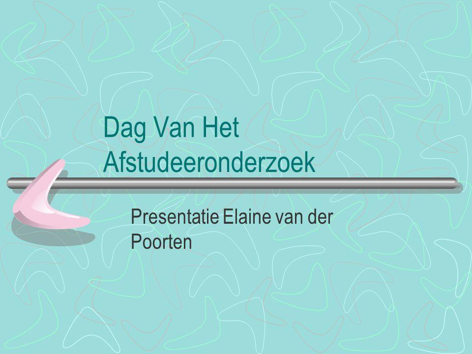 Wie ben ik Elaine van der Poorten Organisatie adviseur bij Ministerie van VROM, Rijksplanologische Dienst In 1998 begonnen met studie Bedrijfswetenschappen Samenwerking OU/HHS Afstudeerrichting Organisatie en Strategie