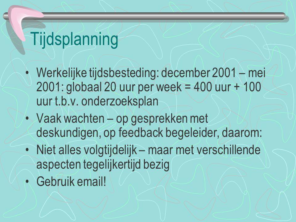 Tijdsplanning Werkelijke tijdsbesteding: december 2001 – mei 2001: globaal 20 uur per week = 400 uur + 100 uur t.b.v. onderzoeksplan Vaak wachten – op
