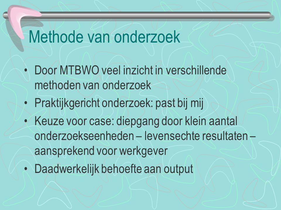 Methode van onderzoek Door MTBWO veel inzicht in verschillende methoden van onderzoek Praktijkgericht onderzoek: past bij mij Keuze voor case: diepgan