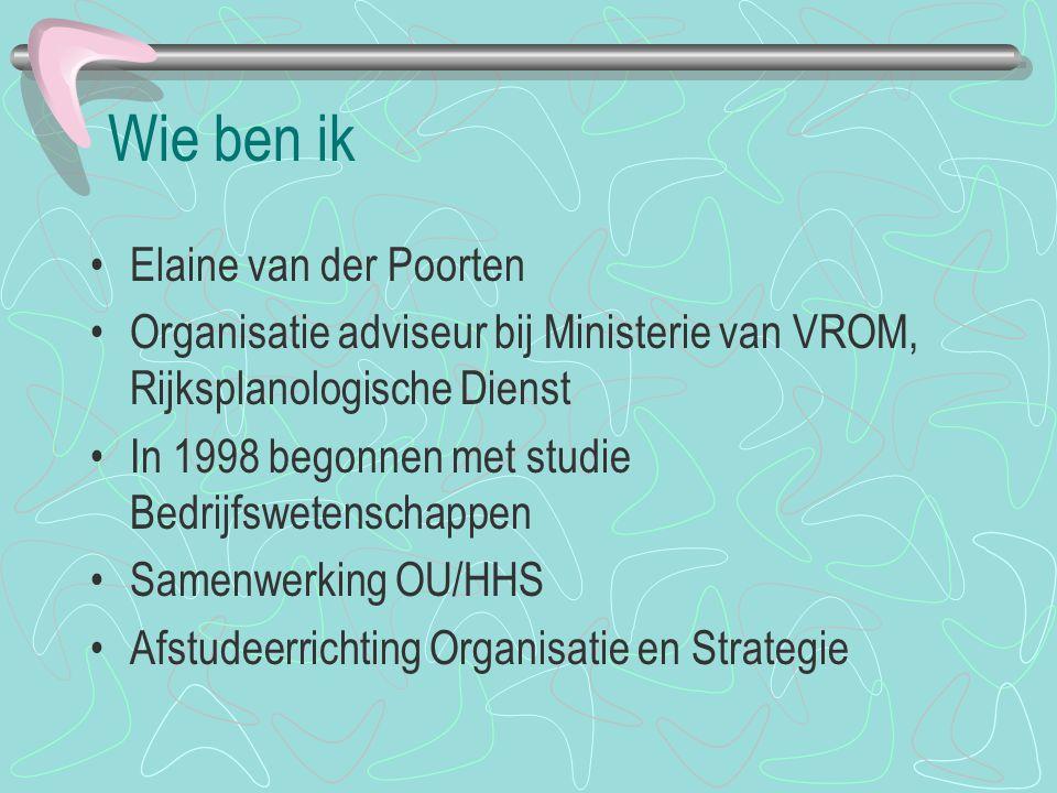 Wie ben ik Elaine van der Poorten Organisatie adviseur bij Ministerie van VROM, Rijksplanologische Dienst In 1998 begonnen met studie Bedrijfswetensch