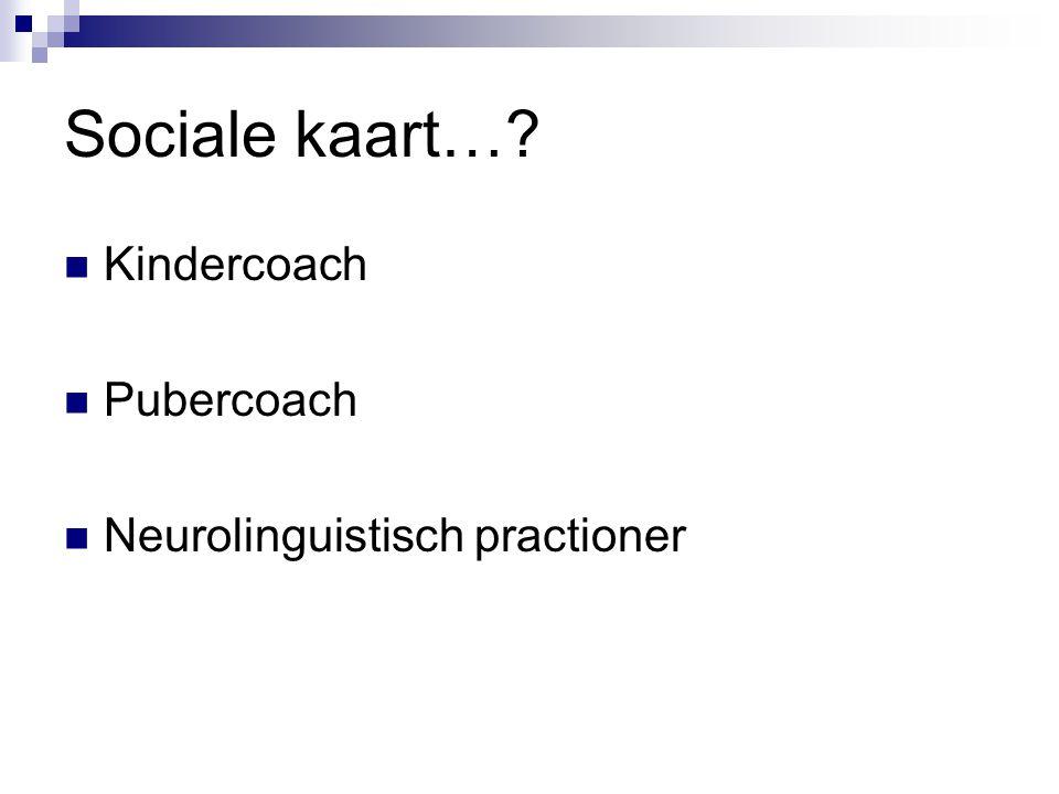 Sociale kaart…? Kindercoach Pubercoach Neurolinguistisch practioner