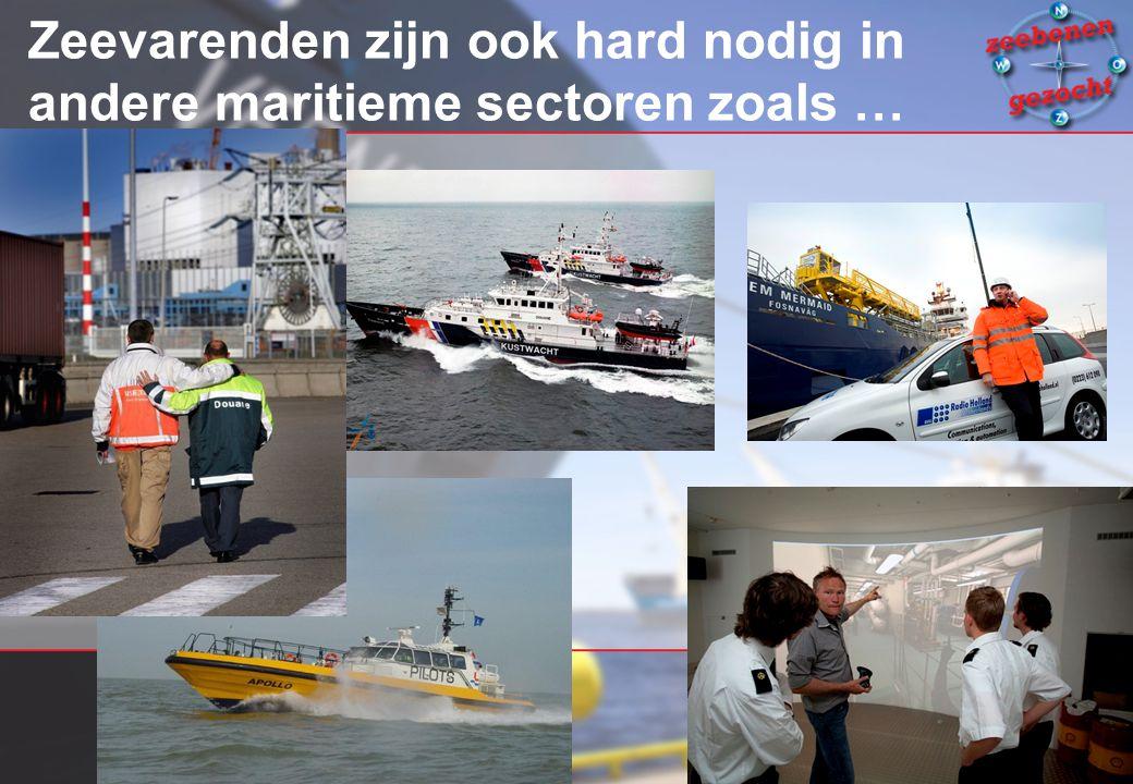 Zeevarenden zijn ook hard nodig in andere maritieme sectoren zoals …