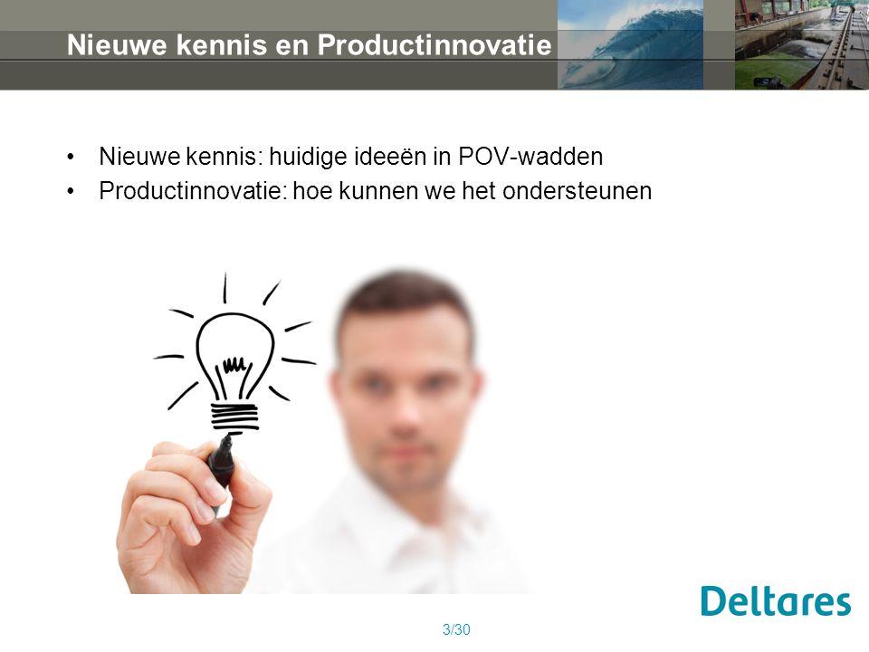Nieuwe kennis en Productinnovatie Nieuwe kennis: huidige ideeën in POV-wadden Productinnovatie: hoe kunnen we het ondersteunen 3/30