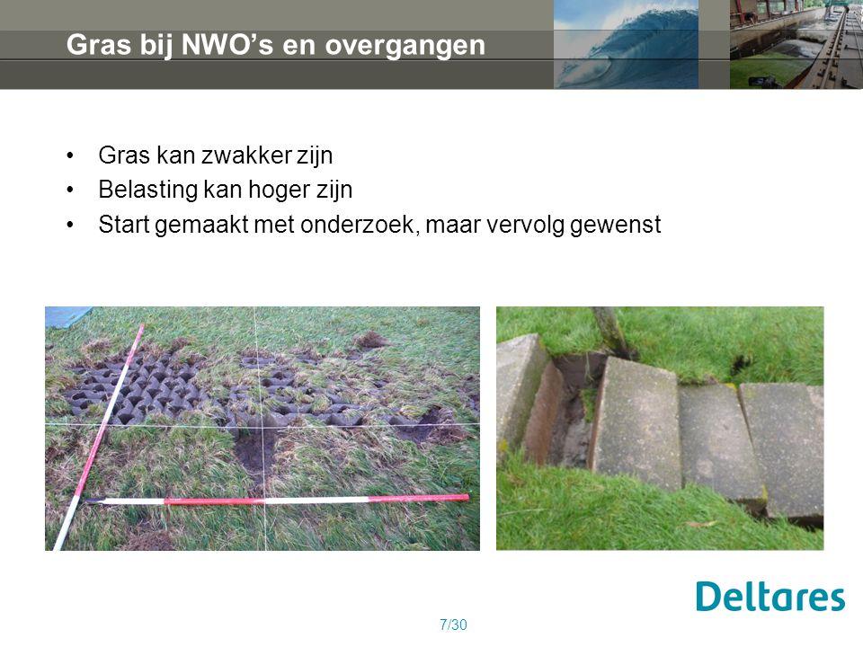 Gras bij NWO's en overgangen Gras kan zwakker zijn Belasting kan hoger zijn Start gemaakt met onderzoek, maar vervolg gewenst 7/30