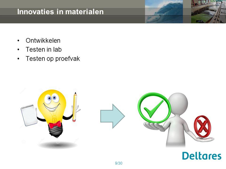 Innovaties in materialen Ontwikkelen Testen in lab Testen op proefvak 9/30
