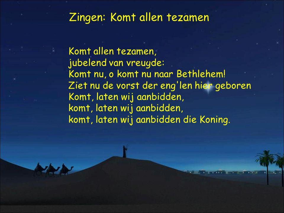 Zingen: Komt allen tezamen Komt allen tezamen, jubelend van vreugde: Komt nu, o komt nu naar Bethlehem! Ziet nu de vorst der eng'len hier geboren Komt