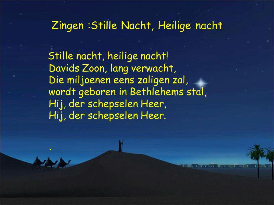 Zingen :Stille Nacht, Heilige nacht Stille nacht, heilige nacht! Davids Zoon, lang verwacht, Die miljoenen eens zaligen zal, wordt geboren in Bethlehe