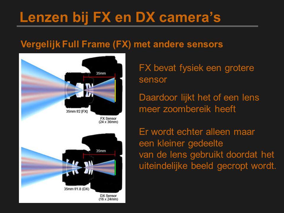Lenzen bij FX en DX camera's Vergelijk Full Frame (FX) met andere sensors FX bevat fysiek een grotere sensor Daardoor lijkt het of een lens meer zoomb