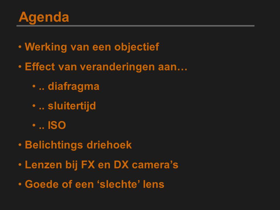 Agenda Werking van een objectief Effect van veranderingen aan….. diafragma.. sluitertijd.. ISO Belichtings driehoek Lenzen bij FX en DX camera's Goede
