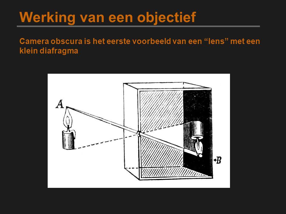 Werking van een objectief Lens definitie: transparant voorwerp om lichtstralen te convergeren of divergeren focusvlak sensor lens onderwerp circle of confusion Onscherpte is afhankelijk van de afstand van het focusvlak Licht vanuit het focuspunt convergeert tot 1 enkele pixel Het zichtbare scherpe gedeelte heet de circle of confusion