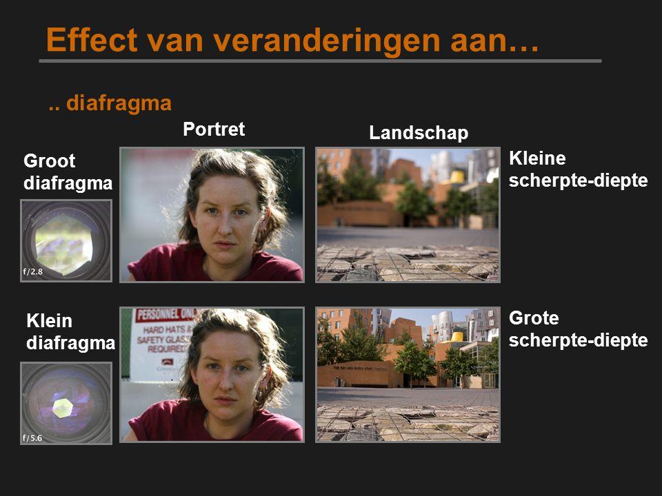 Effect van veranderingen aan… Portret Landschap Groot diafragma.. diafragma Kleine scherpte-diepte Grote scherpte-diepte Klein diafragma