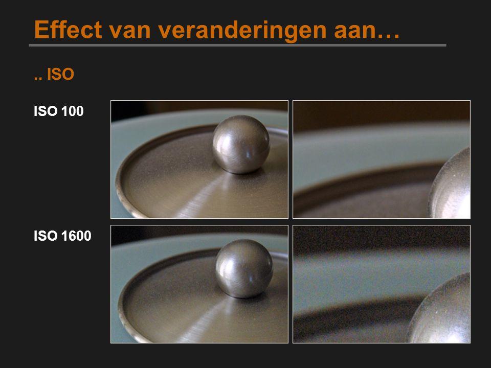 Effect van veranderingen aan….. ISO ISO 100 ISO 1600