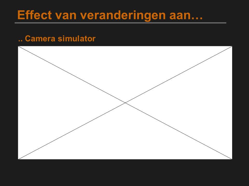 Effect van veranderingen aan….. Camera simulator