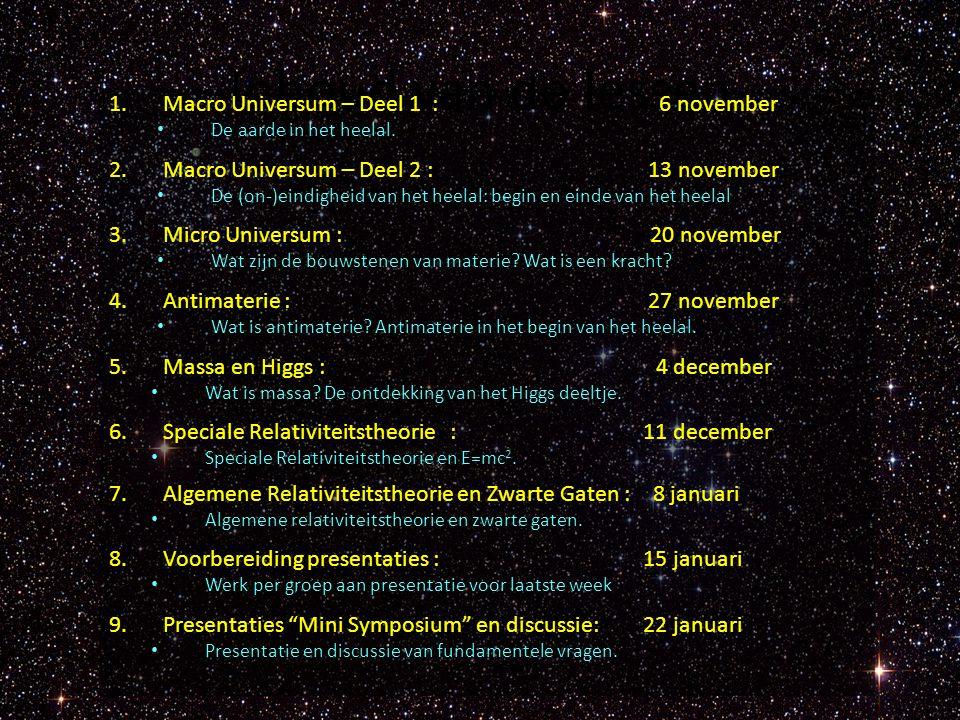 Inhoud van de lessen 1.Macro Universum – Deel 1 : 6 november De aarde in het heelal. 2.Macro Universum – Deel 2 : 13 november De (on-)eindigheid van h
