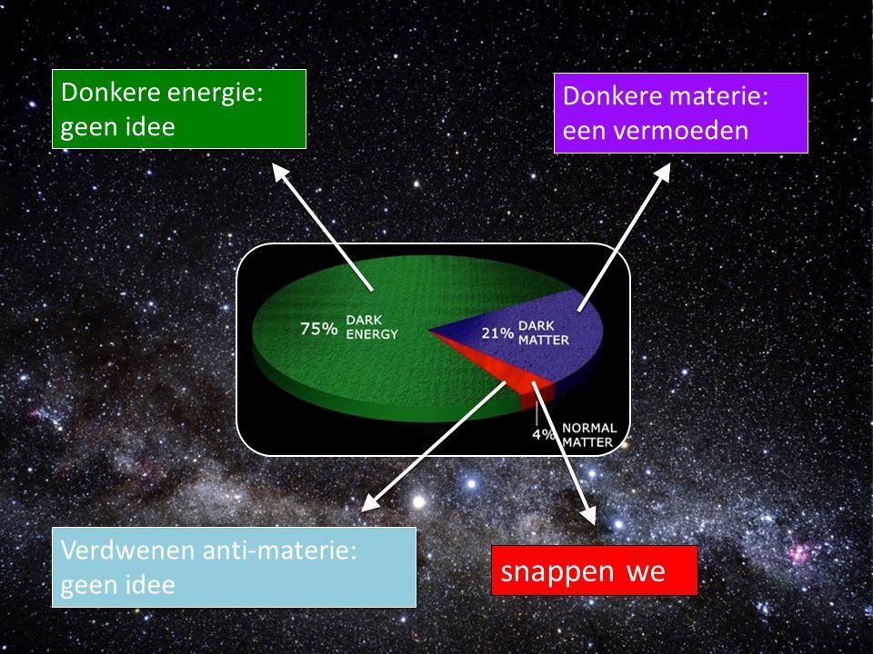 snappen we Donkere materie: geen idee Donkere energie: geen idee Verdwenen anti-materie: geen idee Donkere materie: een vermoeden