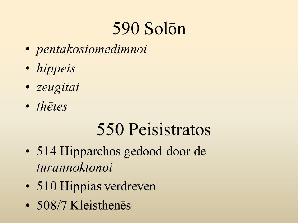 590 Solōn pentakosiomedimnoi hippeis zeugitai thētes 550 Peisistratos 514 Hipparchos gedood door de turannoktonoi 510 Hippias verdreven 508/7 Kleisthenēs