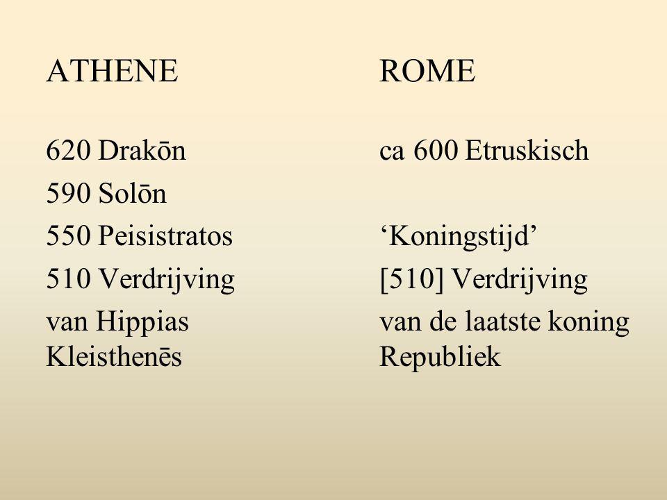 ATHENEROME 620 Drakōnca 600 Etruskisch 590 Solōn 550 Peisistratos'Koningstijd' 510 Verdrijving[510] Verdrijving van Hippias van de laatste koning KleisthenēsRepubliek