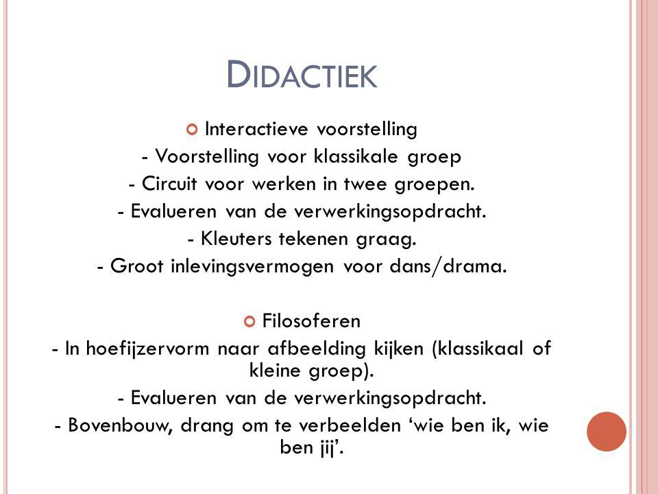 D IDACTIEK Interactieve voorstelling - Voorstelling voor klassikale groep - Circuit voor werken in twee groepen. - Evalueren van de verwerkingsopdrach