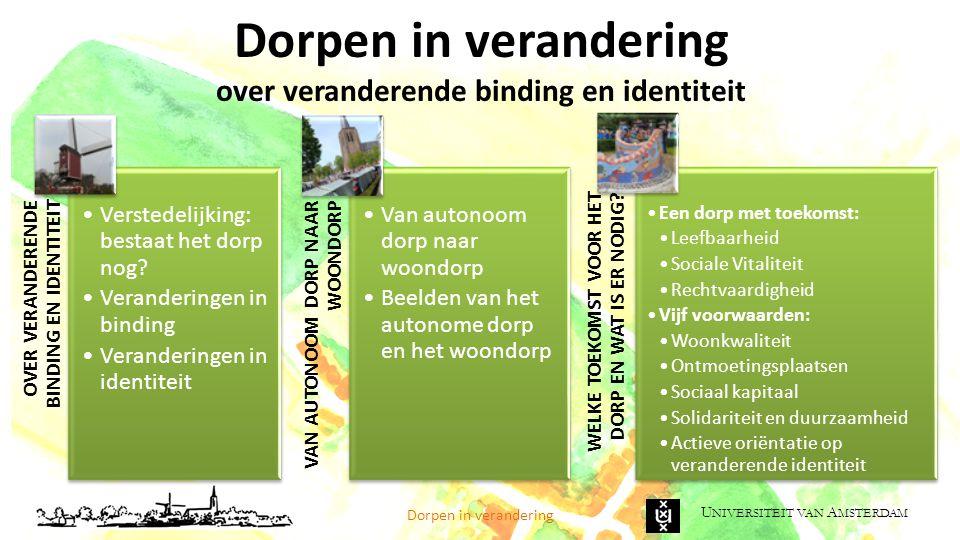 U NIVERSITEIT VAN A MSTERDAM Noord-Brabant: veel dorpen bij de stad Dorpen in verandering 870.000 dorpsbewoners (waarvan 440.000 in kleine dorpen) (van de 2,47 miljoen Brabanders) 870.000 dorpsbewoners (waarvan 440.000 in kleine dorpen) (van de 2,47 miljoen Brabanders) Bron: De Dorpenmonitor, SCP