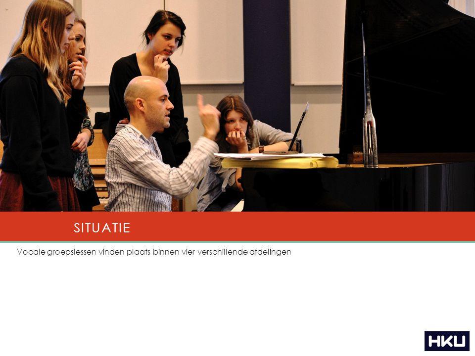 Vocale groepslessen vinden plaats binnen vier verschillende afdelingen SITUATIE