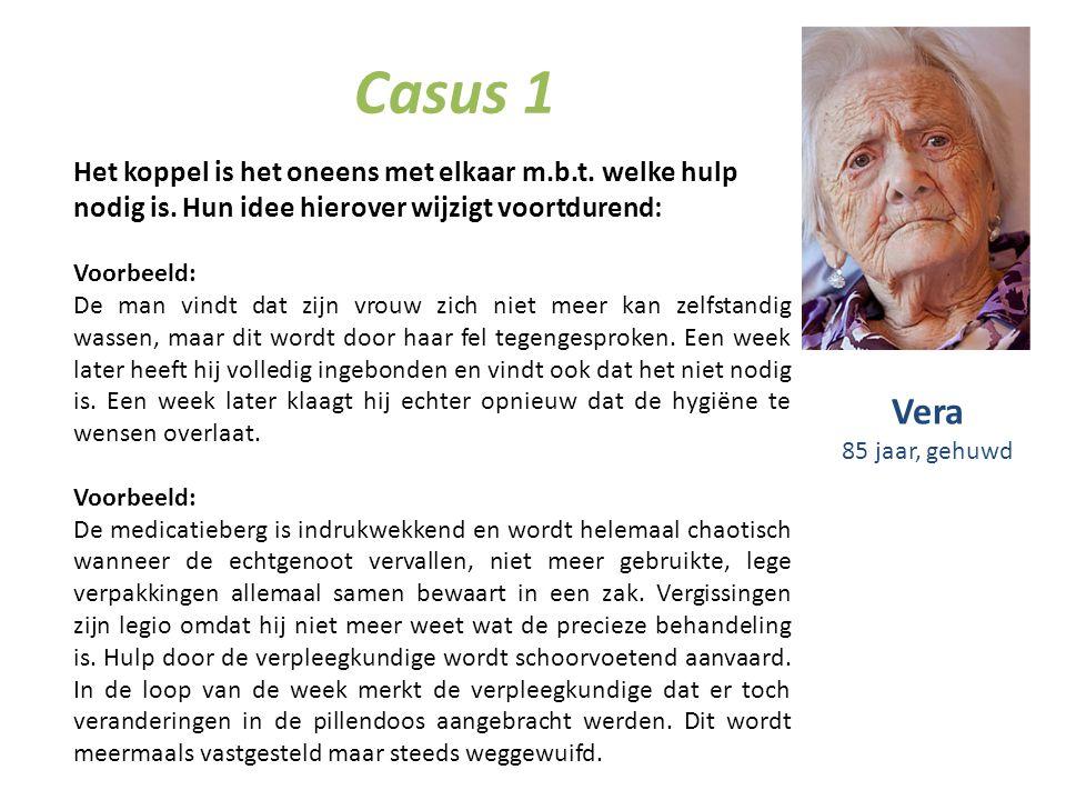 Casus 1 Het koppel is het oneens met elkaar m.b.t. welke hulp nodig is. Hun idee hierover wijzigt voortdurend: Voorbeeld: De man vindt dat zijn vrouw
