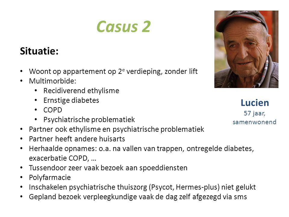 Casus 2 Situatie: Woont op appartement op 2 e verdieping, zonder lift Multimorbide: Recidiverend ethylisme Ernstige diabetes COPD Psychiatrische probl