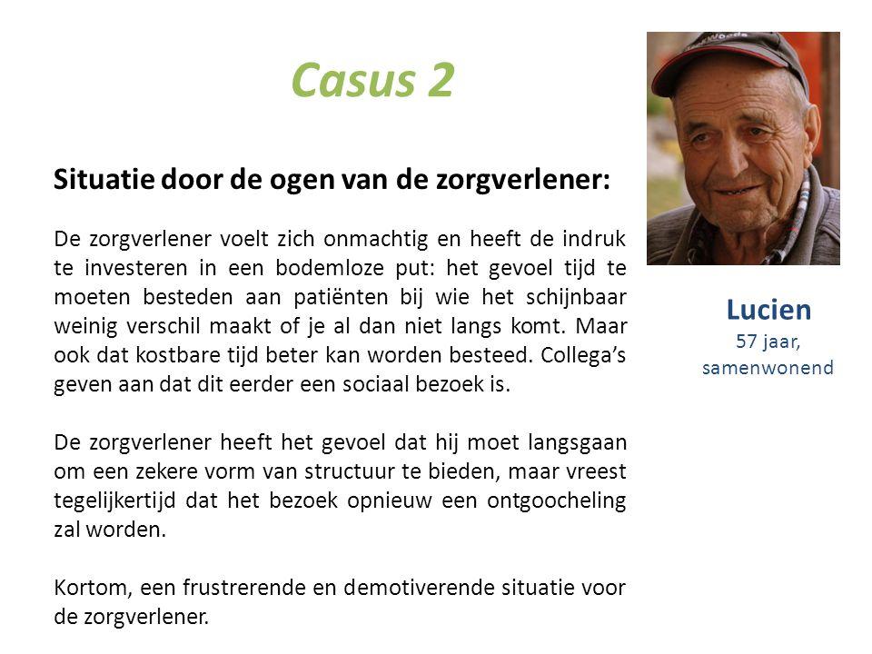 Casus 2 Situatie door de ogen van de zorgverlener: De zorgverlener voelt zich onmachtig en heeft de indruk te investeren in een bodemloze put: het gev