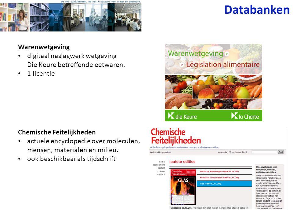 Warenwetgeving digitaal naslagwerk wetgeving Die Keure betreffende eetwaren. 1 licentie Chemische Feitelijkheden actuele encyclopedie over moleculen,