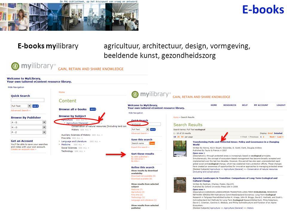 E-books myilibraryagricultuur, architectuur, design, vormgeving, beeldende kunst, gezondheidszorg E-books