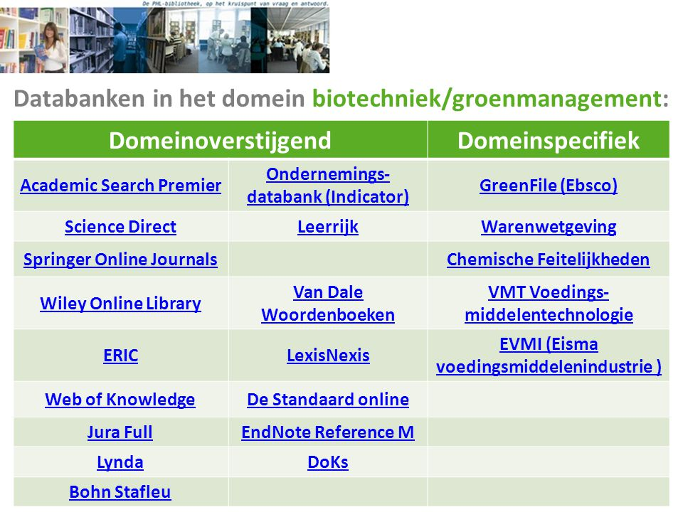 Databanken in het domein biotechniek/groenmanagement: DomeinoverstijgendDomeinspecifiek Academic Search Premier Ondernemings- databank (Indicator) Gre