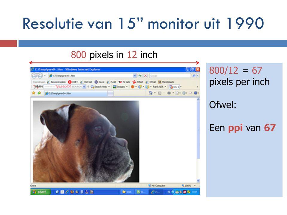 Resolutie van 15 monitor uit 1990 800 pixels in 12 inch 800/12 = 67 pixels per inch Ofwel: Een ppi van 67