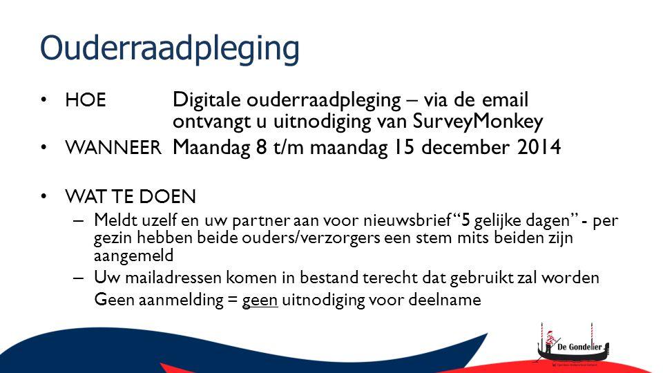 Ouderraadpleging HOE Digitale ouderraadpleging – via de email ontvangt u uitnodiging van SurveyMonkey WANNEER Maandag 8 t/m maandag 15 december 2014 W