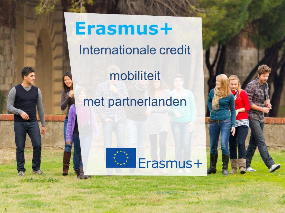 Internationale credit mobiliteit  Internationale dimensie van Erasmus+ 135.000 beurzen in 7 jaren  Voor studenten en personeel (SMS, STA, STT)  Actie beheerd door de Nationale Agentschappen in de programmalanden  Gebruik van Erasmus+ kwaliteitskader