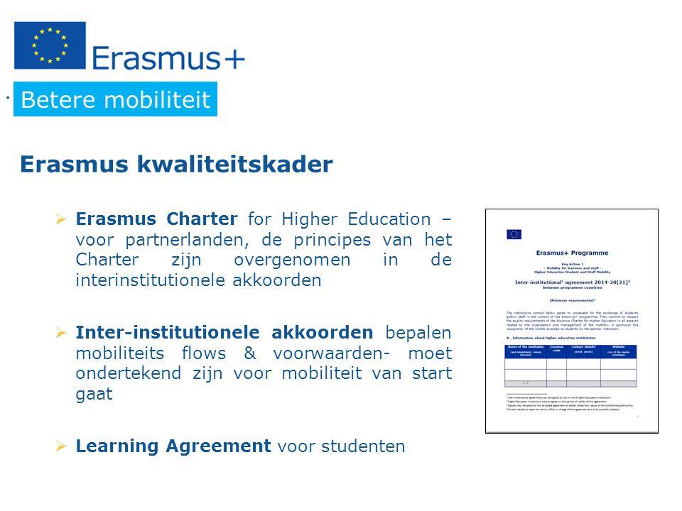 … in other words Betere mobiliteit  Erasmus Charter for Higher Education – voor partnerlanden, de principes van het Charter zijn overgenomen in de interinstitutionele akkoorden  Inter-institutionele akkoorden bepalen mobiliteits flows & voorwaarden- moet ondertekend zijn voor mobiliteit van start gaat  Learning Agreement voor studenten Erasmus kwaliteitskader