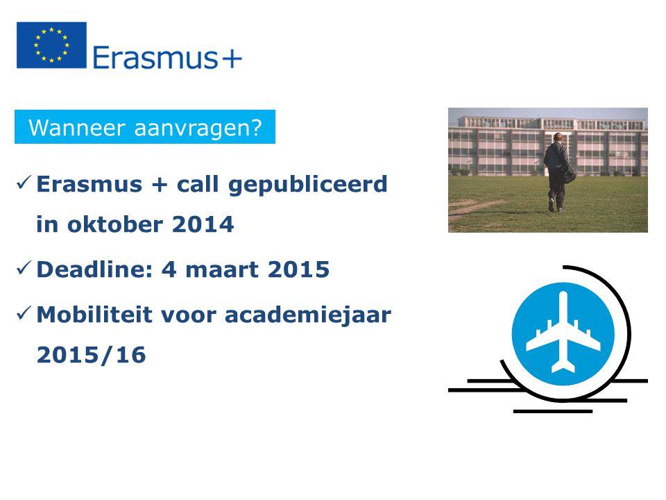 Erasmus + call gepubliceerd in oktober 2014 Deadline: 4 maart 2015 Mobiliteit voor academiejaar 2015/16 Wanneer aanvragen?