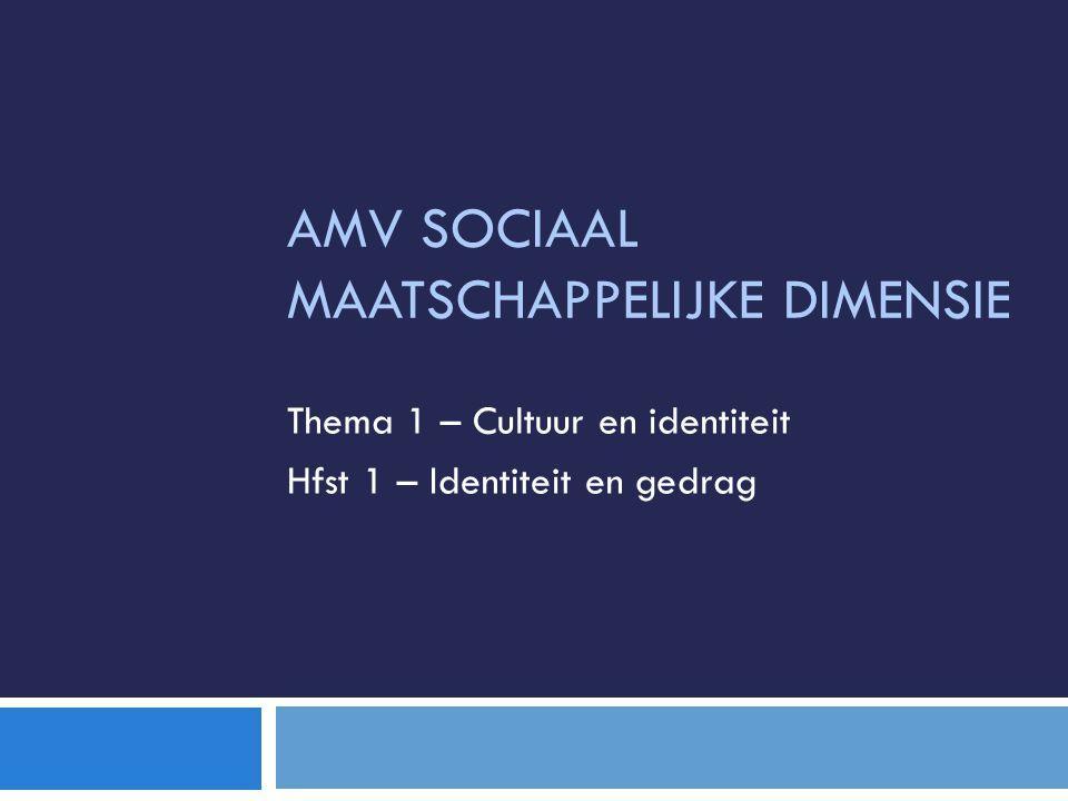AMV SOCIAAL MAATSCHAPPELIJKE DIMENSIE Thema 1 – Cultuur en identiteit Hfst 1 – Identiteit en gedrag