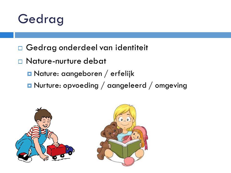 Gedrag  Gedrag onderdeel van identiteit  Nature-nurture debat  Nature: aangeboren / erfelijk  Nurture: opvoeding / aangeleerd / omgeving