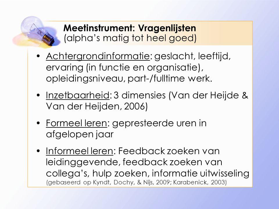Meetinstrument: Vragenlijsten (alpha's matig tot heel goed) Achtergrondinformatie: geslacht, leeftijd, ervaring (in functie en organisatie), opleiding
