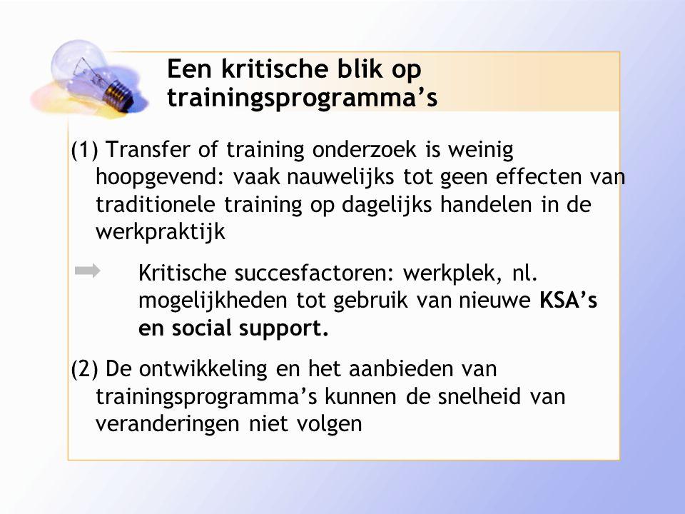 Een kritische blik op trainingsprogramma's (1) Transfer of training onderzoek is weinig hoopgevend: vaak nauwelijks tot geen effecten van traditionele