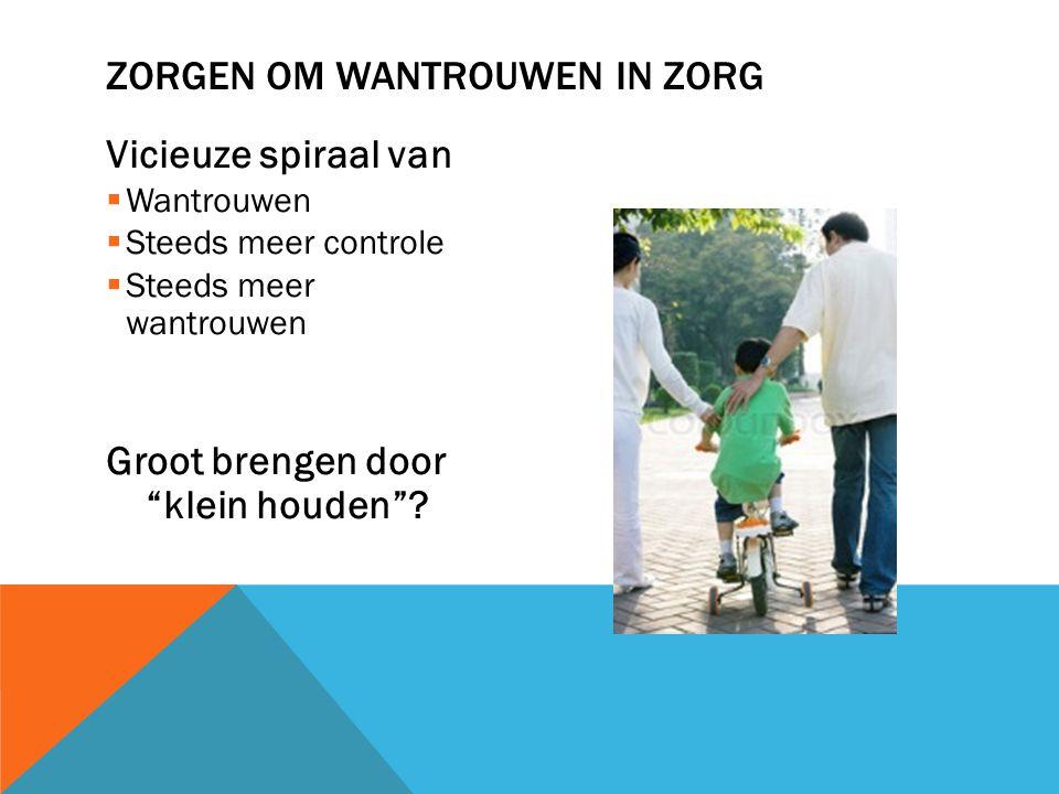Vicieuze spiraal van  Wantrouwen  Steeds meer controle  Steeds meer wantrouwen Groot brengen door klein houden .