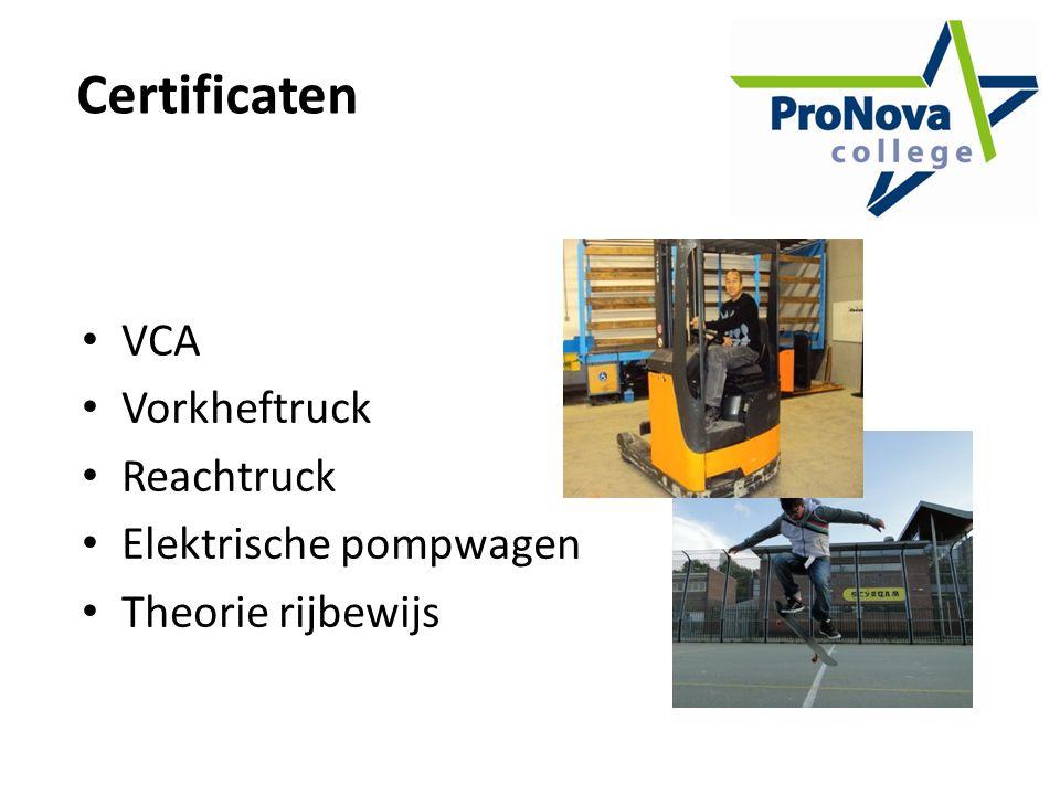 Certificaten VCA Vorkheftruck Reachtruck Elektrische pompwagen Theorie rijbewijs