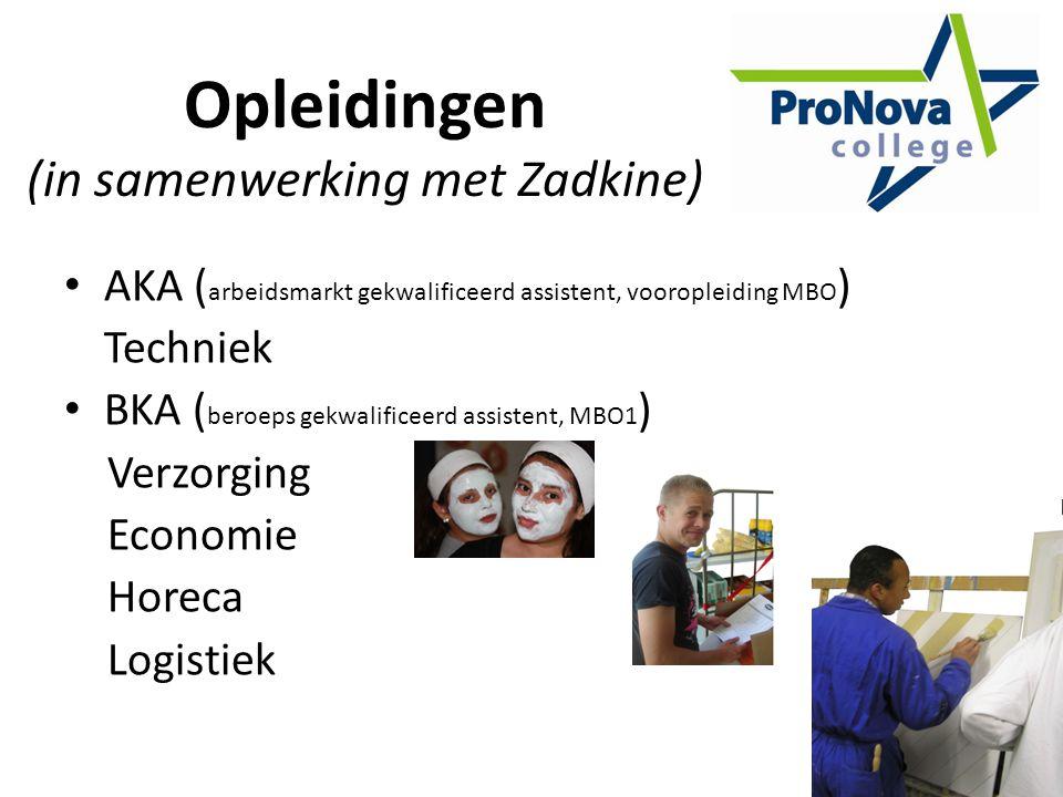 Opleidingen (in samenwerking met Zadkine) AKA ( arbeidsmarkt gekwalificeerd assistent, vooropleiding MBO ) Techniek BKA ( beroeps gekwalificeerd assistent, MBO1 ) Verzorging Economie Horeca Logistiek