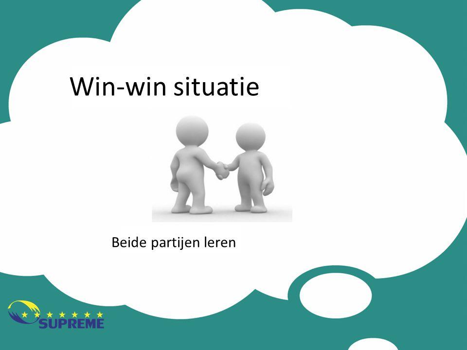 Win-win situatie Beide partijen leren